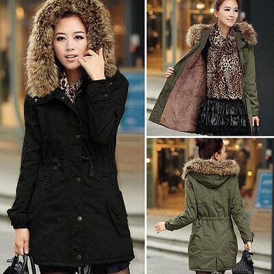 New Women Warm Winter LONG Coat Fur Hooded Parka Thicken Overcoat Jacket Outwear