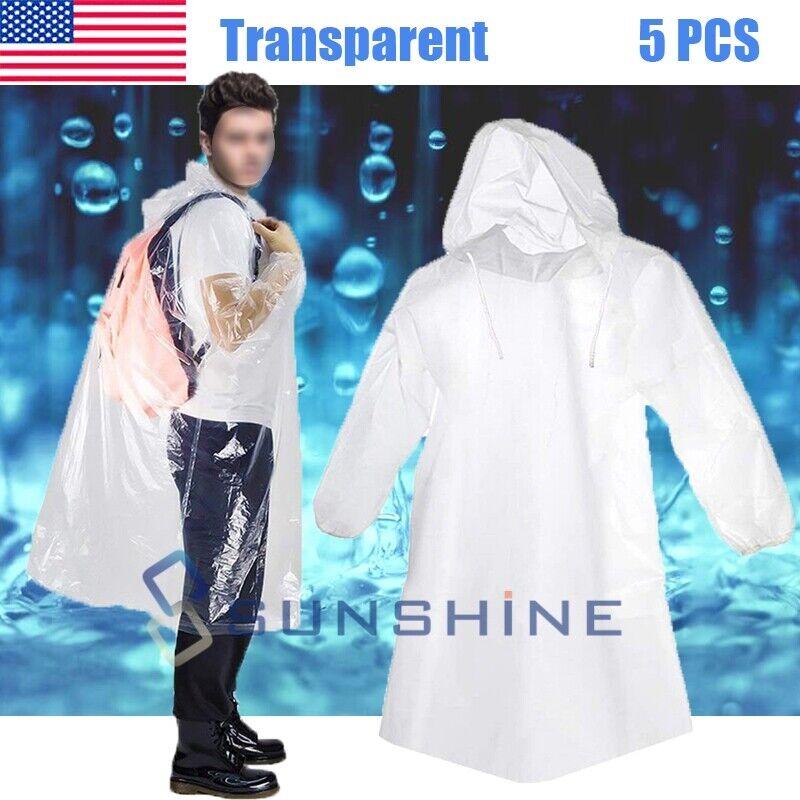 5x Disposable Adult Emergency Waterproof Rain Coat Poncho Hiking Camping Fishing