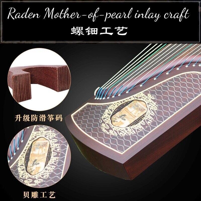 "Concert Grade 64"" Chinese 21-String GuZheng Zither Harp Koto 貝雕工藝山水清音 考級古箏 #2969"
