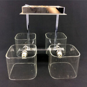 Modern Glass & Chrome Ceiling Light Fixture 4x G9 Bulb Contemp.