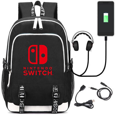 Nintendo Switch Logo backpack multifunction USB charging Headphone Schoolbag{w}