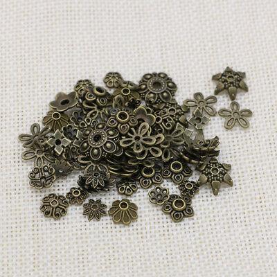 Metall Kappe (10/25/50/100x Perlenkappen Mix - Perlen Kappe Bronze - Metall Deko DIY Spacer)
