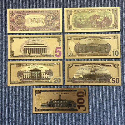 7 PCs/Set Banknotes Ancient Collection Paper Dollars Antique Gold Plated Money