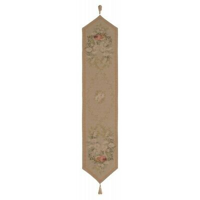 Aubusson Flowers Garlands Beige Design European Woven Tapestry Table Runner Mat - Garland Table Runner