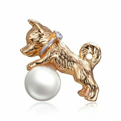 Dog with Ball Brooch Pin Puppy Terrier Shiba Inu Corgi Faux White Pearl Gold ()