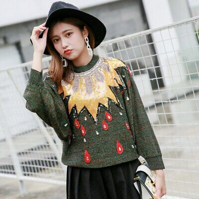 Women Sweater Sequins Beading Jumper Lurex Jersey Pullovers Top Green Embroidery