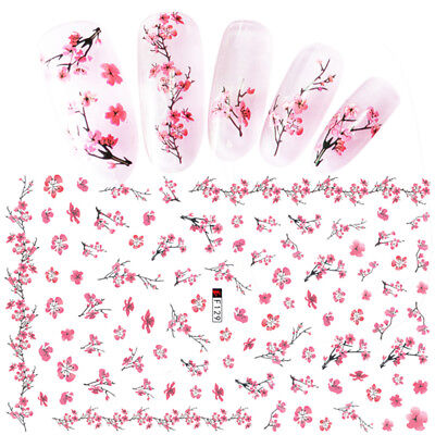 Pink Plum Blossom 3D Nail Stickers  Nail Art Transfer Decals Decoration