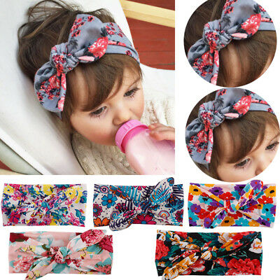 Baby Toddler Girls Kids Bunny Rabbit Bow Knot Turban Headband Hair Band Headwrap (Bunny Head Band)