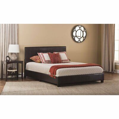 Hillsdale Hayden Faux Leather Upholstered Full Panel Bed in Brown Leather Panel Drawers