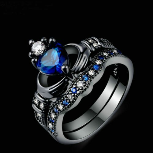 Exquisite Love Heart Design Crown Hand Heart Ring Sets Blue Crystal Ring