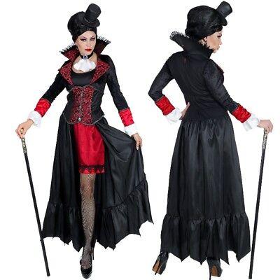 Elegantes Vampir Lady Damen Kostüm Mittelalter Kleid Gräfin Karneval (Alte Lady Vampir Kostüm)