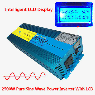 2500W/5000W Peak Pure Sine Wave Power Inverter DC 12V to AC 230V Car Caravan LCD