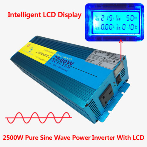 2500W/5000W Peak Pure Sine Wave Power Inverter DC 12V to AC 230V Car Caravan LCD