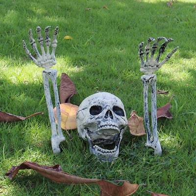 Halloween Scary Horror Skeleton Decorations Head Bones Skull Hand Outdoor -