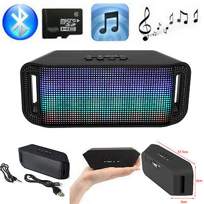 Portable Mini LED Wireless Bluetooth Stereo Speaker Bass w/FM For iPhone Samsung