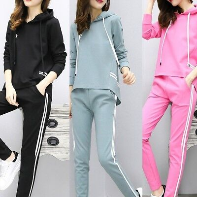 Womens Casual Top + Long Pants Suit Leisure Sport 2pc Set Outfits Fashion Cloth