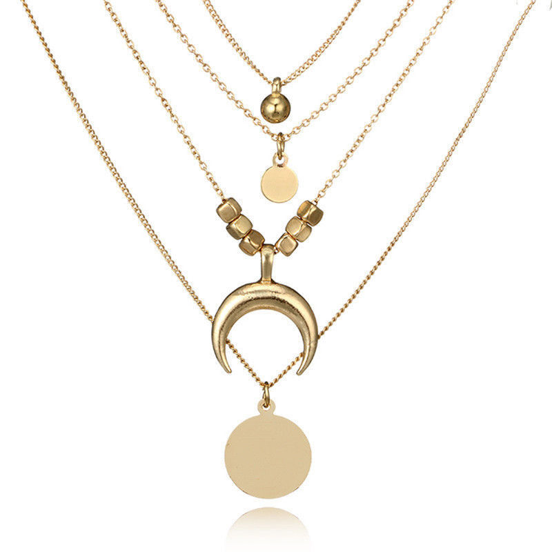 Multilayer Choker Horn Long Crescent Moon Pendant Necklace Chain Jewelry F UP