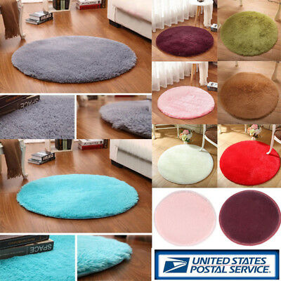 Round Fluffy Rug Anti-Skid Shaggy Dining Room Bedroom Carpet