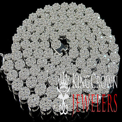 (ICED OUT REAL LAB DIAMOND 14K WHITE GOLD FINISH CLUSTER FLOWER NECKLACE CHAIN)