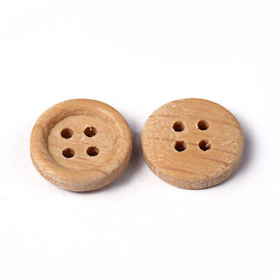 Wheat Natural Wood - 50pcs Wheat Natural 4 Hole Flat Wood Buttons Sewing Accessories Decoration 13mm