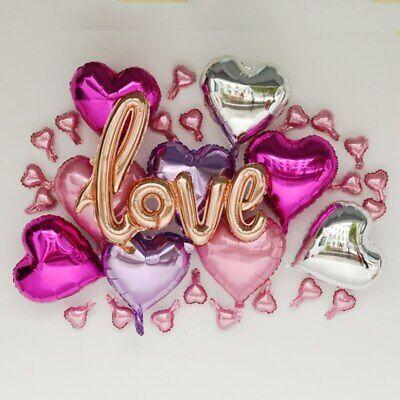 Valentines Party Decor (Love Heart Foil Balloon Valentines Day Engagement Party Decor Set Kit)