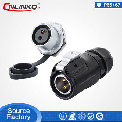 Cnlinko M20 2 Pin Waterproof Connector Power Welding Male Plug Female Socket