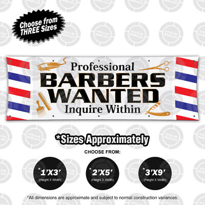 Professional Barbers Wanted Inquire Within Banner Salon Open Sign Lounge Poster