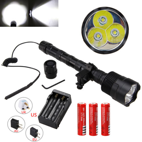 Tactical 3800Lm TR-3T6 3x XM-L T6 LED Hunting Torch Light Flashlight 18650 Lamp