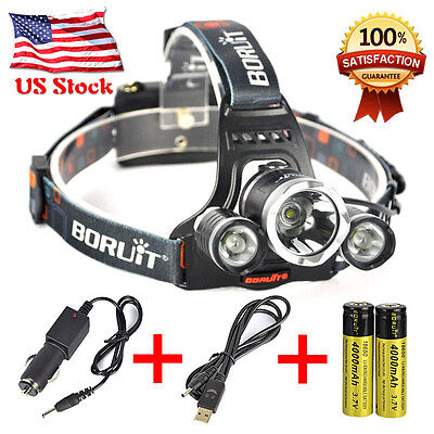 Boruit Headlamp 12000Lm XML T6+2R5 3LED Head Light Torch+Car/USB Charger+2X18650