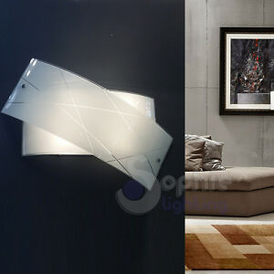 Applique parete lampada cromo design moderno vetro incrociato soggiorno ingre...