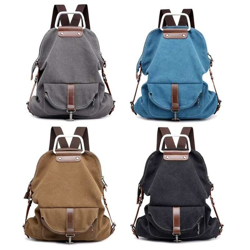 Canvas Leather Women/'s Small Backpack Concise Design