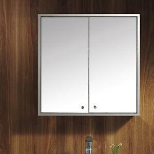 Double door stainless steel wall mirror storage cupboard bathroom cabinet ebay for Double door mirrored bathroom cabinet