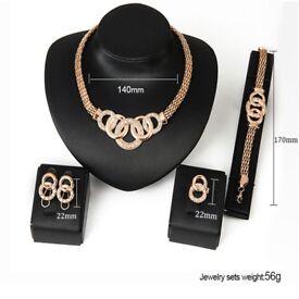 Luxury Bridal Jewelry Sets African Beads Statement Necklace Women Earrings Bracelet Ring Set