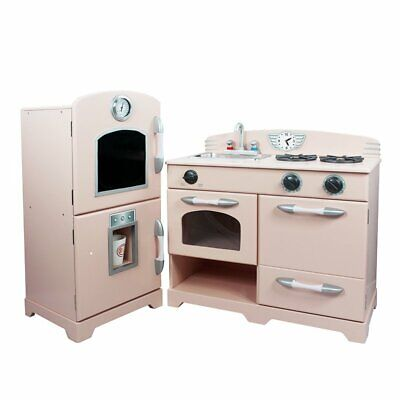 Teamson Kids - Retro Wooden Play Kitchen with Refrigerator,