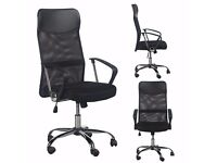 Great office desk chair on wheels/castors, mesh and leather. Black