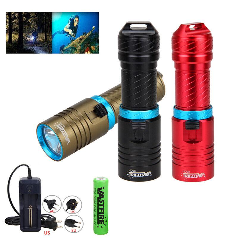 10000Lm XM-L T6 LED Scuba Diving Flashlight Aluminum Torch Light Waterproof 120m