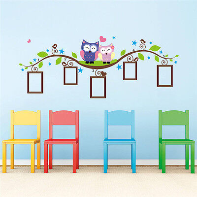 Owl Bird Vine Animal Wall Sticker Photo Frame Home Kids Room Decal Picture Decal