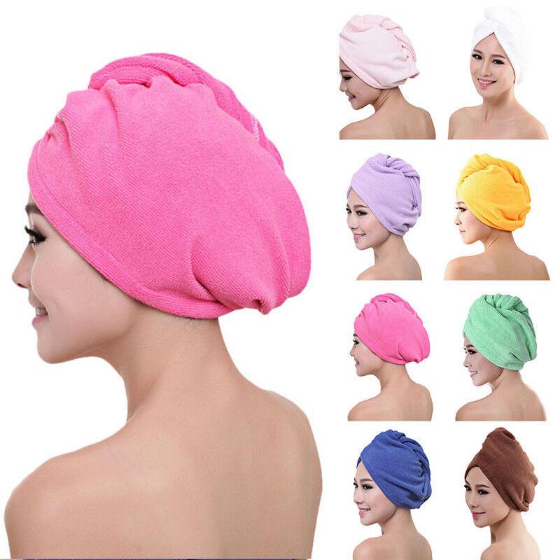 Microfaser Haarturban Trockentuch Kopfhandtuch Wrap KNOPF Spa Bade Handtuch
