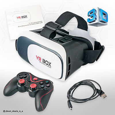 VR Brille 3D Virtual Reality Box Glasses Headset + Bluetooth Gamepad Controller