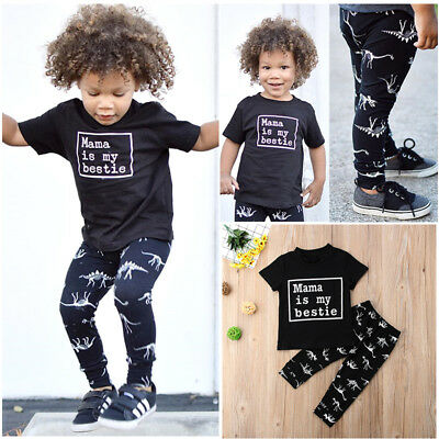 USA 2Pcs Toddler Kids Baby Boy Tops T-shirt Dinosaur Pants 2Pcs Outfits Clothes - Childrens Dinosaur Outfit