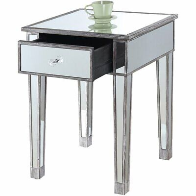 Convenience Concepts Gold Coast 1 Drawer Mirrored End Table