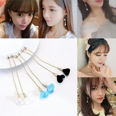 (Charm Women Gold Silver Plated Crystal Flower Drop Long Dangle Chain Earrings)
