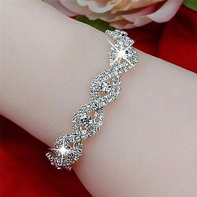 Elegant Deluxe Austrian Crystal Bracelet Women Infinity Rhinestone Bangle -