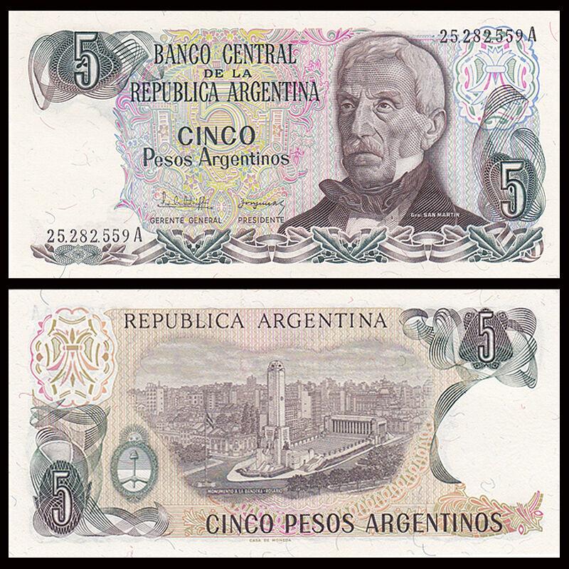 ARGENTINA 5 PESOS ND 1983-84 P 312 UNC