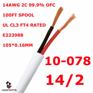 pure OFC UL CL3 Listed FT4 rated In wall rated speaker wire 14GA