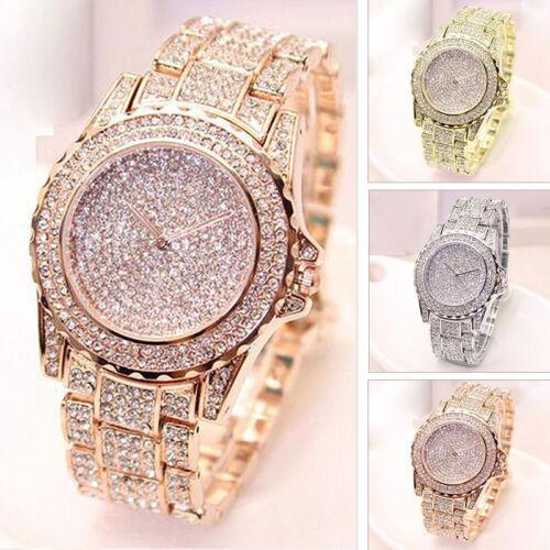 Damen-Uhr Silber Rosegold Edelstahl Armbanduhr mit Strasssteinen Quarz Uhrwerk
