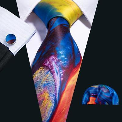 USA Blue Red Yellow Tie Set Silk Mens Printed  Necktie Lot Woven Wedding Party