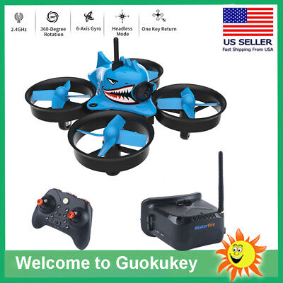 Micro FPV Racing Drone With Goggles Camera RTF Midget Whoop Quardcopter Blue Shark