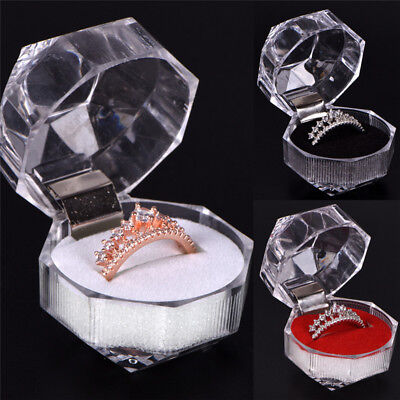 Clear Acrylic Jewelry Gift Box for Ring Holder Wedding Engagement Present BR](Gift Boxes For Jewelry)