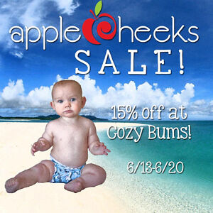 Save 15% on AppleCheeks Diapers at Cozy Bums, now through 6/20!
